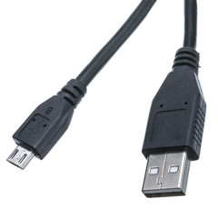 Micro USB 2.0 Cable, Black, Type A Male / Micro-B Male, 1 foot - Part Number: 10U2-03101BK