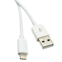 Apple Lightning Authorized White iPhone, iPad, iPod USB Charge and Sync Cable, 3 foot - Part Number: 10U2-05103WH