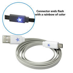 Flashing Micro USB 2.0 Cable, Gray, Type A Male / Micro-B Male, 3 foot - Part Number: 10U2-13103