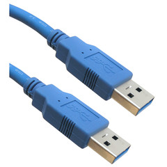 USB 3.0 Cable, Blue, Type A Male / Type A Male, 3 foot - Part Number: 10U3-02103
