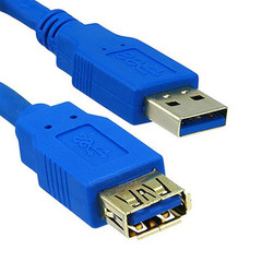 USB 3.0 Extension Cable, Blue, Type A Male / Type A Female, 6 foot - Part Number: 10U3-02106E