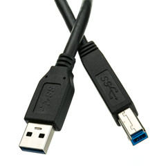 USB 3.0 Printer / Device Cable, Black, Type A Male to Type B Male, 3 foot - Part Number: 10U3-02203BK