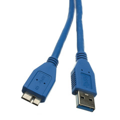 Micro USB 3.0 Cable, Blue, Type A Male to Micro-B Male, 1 foot - Part Number: 10U3-03101