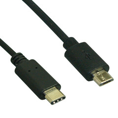 USB 2.0 Type C Male to Micro B Male Cable - 480mb - 1 meter (3.28ft) - Part Number: 10U3-13101