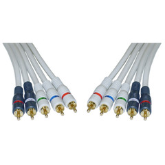 High Quality Component Video and Audio RCA Cable, 3 RCA (RGB) and 2 RCA (Right and Left) Male, Gold-plated Connectors, 6 foot - Part Number: 10V2-03106