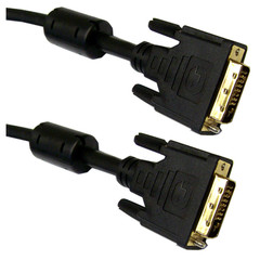 DVI-D Dual Link Cable with Ferrite, Black, DVI-D Male, 7.5 meter ~ 24.5 foot - Part Number: 10V2-05308BK-F