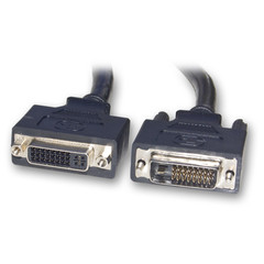 DVI-D Dual Link Extension Cable, Black, DVI-D Male to DVI-D Female, Ferrites 2 meter (6.6 foot) - Part Number: 10V2-07202BK