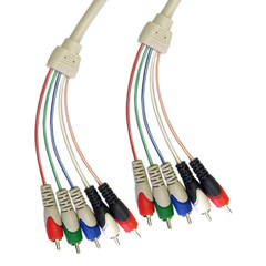 RCA Component Video With Audio Cable, 3 RCA Male (RGB) and 2 RCA Male (Audio), 6 foot - Part Number: 10V2-13106