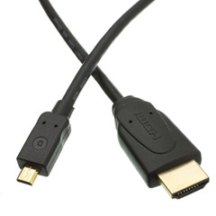 Micro HDMI Cable, High Speed with Ethernet, HDMI Male to Micro HDMI Male (Type D), 15 foot - Part Number: 10V3-44115