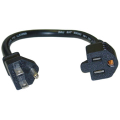 Power Extension Cord, Black, NEMA 5-15P to NEMA 5-15R, 13 Amp, 16 AWG, 10 Amp, 1 foot - Part Number: 10W1-04201-16