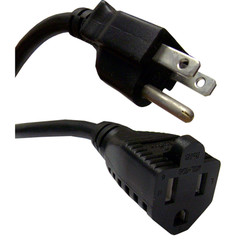 Power Extension Cord, Black, NEMA 5-15P to NEMA 5-15R, 10 Amp, 3 foot - Part Number: 10W1-04203