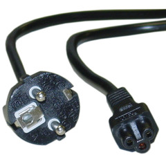 European Notebook/Laptop Power Cord, Europlug or CE 7/7 to C5, Polarized, VDE Approved, 6 foot - Part Number: 10W1-15306