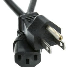Japanese Computer/Monitor Power Cord, Black, JIS C 8303 Class I to C13, PSE Approved, 8 foot - Part Number: 10W1-28206