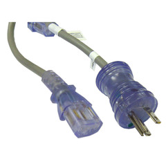 Hospital Grade, Green Dot, Power Cord, Nema 5-15 to C13, 16 AWG, SJT, 13 Amp / 125 Volt, 10 Foot - Part Number: 10W2-51310