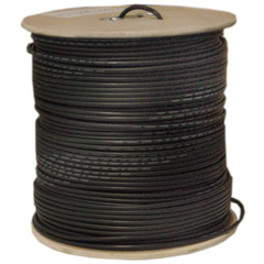Bulk RG58/U Coaxial Cable, Black, 20 AWG, Solid Core, Braided Shield, Spool, 1000 foot - Part Number: 10X1-022NH