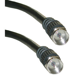 F-pin RG59 Coaxial Cable, Black, F-pin Male, Gold Connector, 6 foot - Part Number: 10X2-01106G