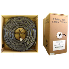 Bulk RG59/U Coaxial Cable, Black, 20 AWG, Solid Core, Copper, Pullbox, 1000 foot - Part Number: 10X3-022TH-20