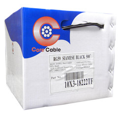 Bulk RG59 Siamese Coaxial/Power Cable, Black, Solid Core (Copper) Coax, 18/2 (18 AWG 2 Conductor) Stranded Copper Power, Pullbox, 500 foot - Part Number: 10X3-18222TF