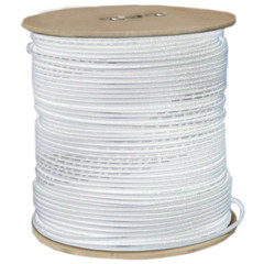 Dual bonded Bulk RG6U Coaxial cable, White, 18 AWG Bare Copper Solid Core, 3 GHz, Spool, 500 foot - Part Number: 10X4-2291NF