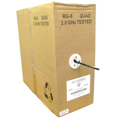 Quad Shielded Bulk RG6 Coaxial Cable, Black, 18 AWG, Solid Core, Pullbox, 1000 foot - Part Number: 10X4-122TH