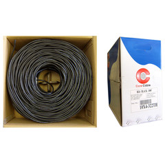 Bulk RG6U Coaxial Cable, Black, 18 AWG Solid Copper Core, Copper Braid with 95% coverage,  Pullbox, 1000 foot - Part Number: 10X4-322TH
