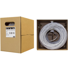 Bulk Cat5e Gray Ethernet Cable, Solid, UTP (Unshielded Twisted Pair), Pullbox, 500 foot - Part Number: 10X6-021TF