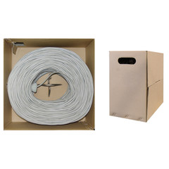 Bulk Shielded Cat6 Gray Ethernet Cable, Solid, Pullbox, 1000 foot - Part Number: 10X8-521TH