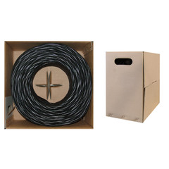 Bulk Cat5e Black Ethernet Cable, Solid, UTP (Unshielded Twisted Pair), Pullbox, 1000 foot - Part Number: 10X6-022TH