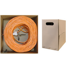 Bulk Cat6 Orange Ethernet Cable, Solid, UTP (Unshielded Twisted Pair), Pullbox, 1000 foot - Part Number: 10X8-031TH