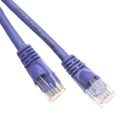 Cat5e Purple Ethernet Patch Cable, Snagless/Molded Boot, 3 foot - Part Number: 10X6-04103