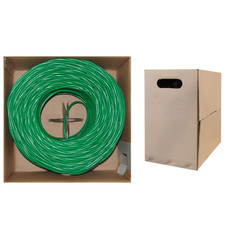 Plenum Cat6 Bulk Cable, Green, Solid, UTP (Unshielded Twisted Pair), CMP, 23 AWG, Pullbox, 1000 foot - Part Number: 11X8-051TH