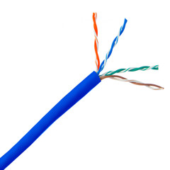 Plenum Cat5e Bulk Cable, Blue, Solid, UTP (Unshielded Twisted Pair), CMP, 24 AWG, Pullbox, 1000 foot - Part Number: 11X6-061TH