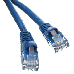 Cat5e Blue Ethernet Patch Cable, Snagless/Molded Boot, 1 foot - Part Number: 10X6-06101