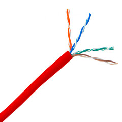 Bulk Cat5e Red Ethernet Cable, Solid, UTP (Unshielded Twisted Pair), Pullbox, 1000 foot - Part Number: 10X6-071TH