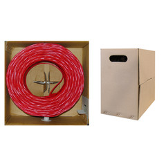 Plenum Cat5e Bulk Cable, Red, Solid, UTP (Unshielded Twisted Pair), CMP, 24 AWG, Pullbox, 1000 foot - Part Number: 11X6-071TH