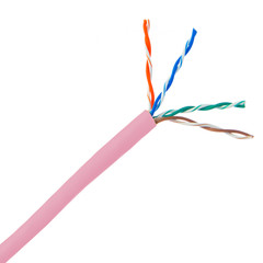 Bulk Cat5e Pink Ethernet Cable, Solid, UTP (Unshielded Twisted Pair), Pullbox, 1000 foot - Part Number: 10X6-072TH