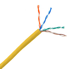 Bulk Cat5e Yellow Ethernet Cable, Solid, UTP (Unshielded Twisted Pair), Pullbox, 1000 foot - Part Number: 10X6-081TH