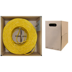 Plenum Cat5e Bulk Cable, Yellow, Solid, UTP (Unshielded Twisted Pair), CMP, 24 AWG, Pullbox, 1000 foot - Part Number: 11X6-081TH