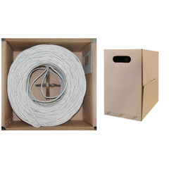 Plenum Cat5e Bulk Cable, White, Solid, UTP (Unshielded Twisted Pair), CMP, 24 AWG, Pullbox, 1000 foot - Part Number: 11X6-091TH