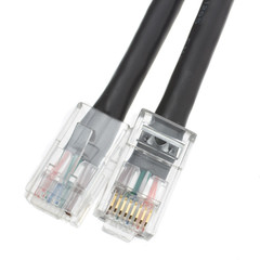 Cat5e Black Ethernet Patch Cable, Bootless, 7 foot - Part Number: 10X6-12207