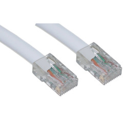 Cat5e White Ethernet Patch Cable, Bootless, 14 foot (Box of 100) - Part Number: KIT-10X6-19114