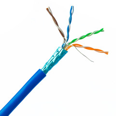 Bulk Shielded Cat5e Blue Ethernet Cable, Solid, Spool, 1000 foot - Part Number: 10X6-561NH