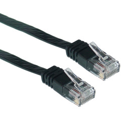 Cat5e Black Flat Ethernet Patch Cable, 32 AWG, 1 foot - Part Number: 10X6-62201