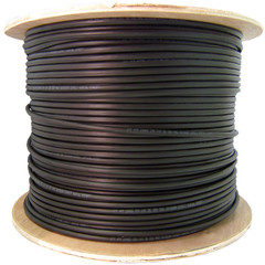 Direct Burial/Outdoor rated Cat5e Black Ethernet Cable, Solid, CMX, Waterproof Tape, 24 AWG, Spool, 1000 foot - Part Number: 10X6-622NH