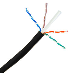 Plenum Cat6 Bulk Cable, Black, Solid, UTP (Unshielded Twisted Pair), CMP, 23 AWG, Pullbox, 1000 foot - Part Number: 11X8-022TH