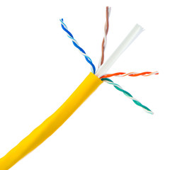 Bulk Cat6 Yellow Ethernet Cable, Solid, UTP (Unshielded Twisted Pair), Pullbox, 1000 foot - Part Number: 10X8-081TH