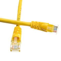Cat6 Yellow Ethernet Patch Cable, Snagless/Molded Boot, 1 foot - Part Number: 10X8-08101