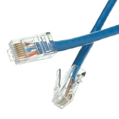 Cat6 Blue Ethernet Patch Cable, Bootless, 1 foot - Part Number: 10X8-16101