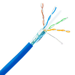 Plenum Cat6 Bulk Cable, Blue, Solid, Shielded, CMP, 23 AWG, Spool, 1000 foot - Part Number: 11X8-561NH
