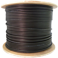 Direct Burial/Outdoor Rated Shielded Cat6 Black Ethernet Cable, Solid, 23 AWG, Spool, 1000 foot - Part Number: 10X8-722NH